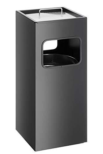 Durable 333101 Papierkorb Metall mit Ascher, entnehmbarer Inneneimer und Ascher, eckig, schwarz
