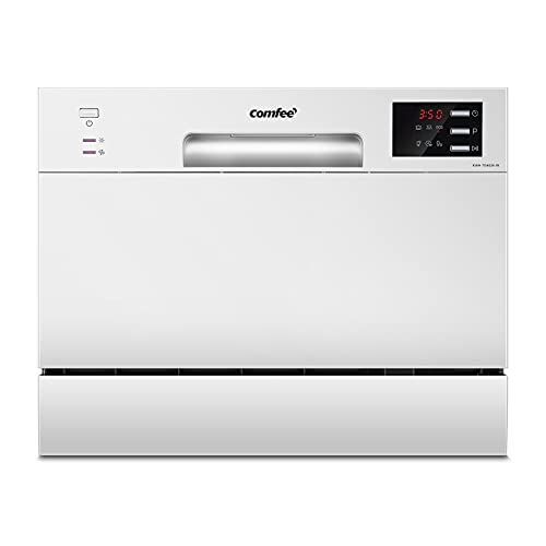 COMFEE' Table Top Compact Dishwasher TD602E-W Mini Dishwasher with 6 Place Settings, 6 Programmes, LED Display, Delay Start and Off-peak Wash Function - White