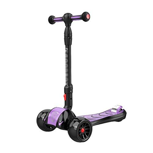 Patinete Scooter Plegable Ajustable Altura PU Flashing Wheels Kick Scooter para Niños Edades 2-14 Lean para Dirigir (Color : Purple)