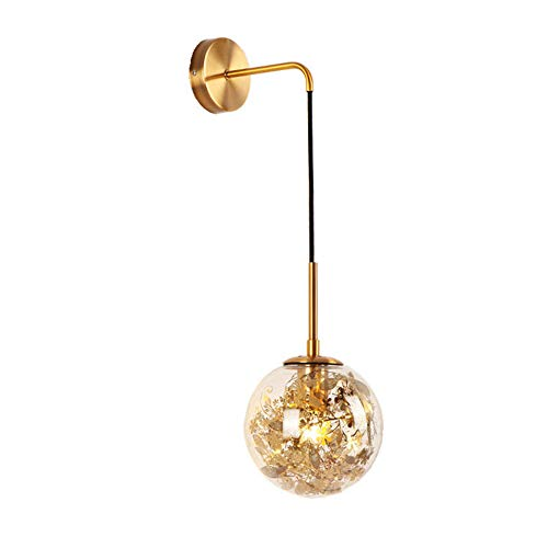 JWC Lámpara de Pared Moderna de Mediados de Siglo, Accesorio de Vidrio Redondo de latón Ajustable Minimalista, lámpara de Pared Dorada, Mano de Obra Fina, para Dormitorio