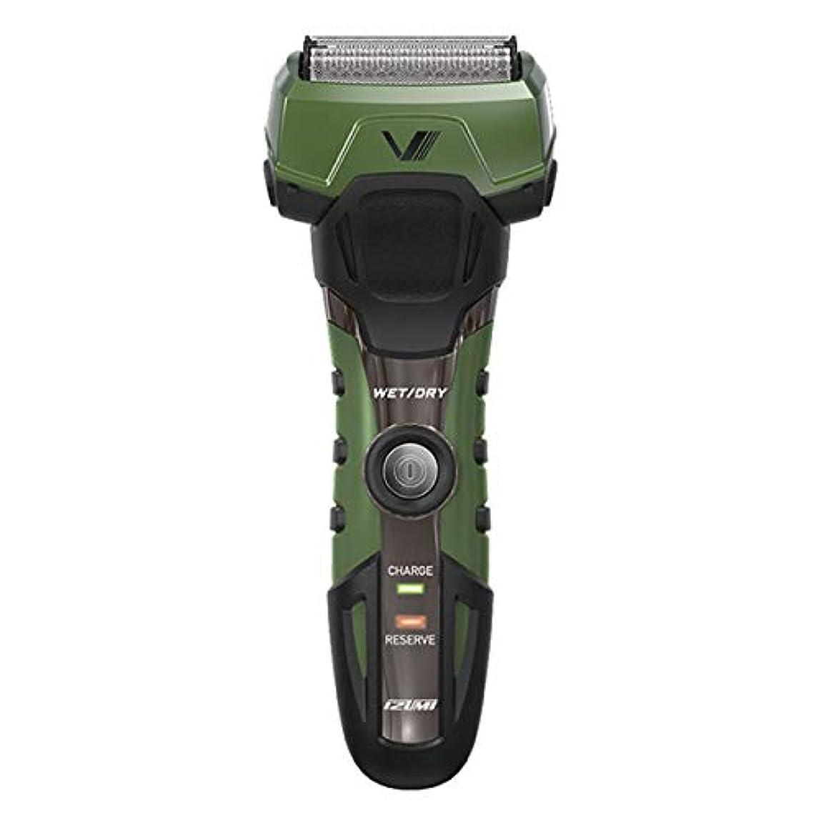 消毒剤同意はっきりしないIZUMI A-DRIVE グルーミングシリーズ 往復式シェーバー 4枚刃 グリーン IZF-V758-G