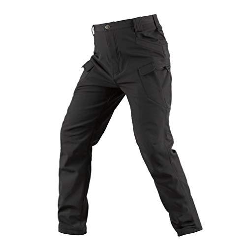 YuanDian Uomo Militari Tattici Mimetici Pantaloni Softshell Fodera in Pile Caldo Outdoor Escursionismo Combat Trekking Alpinismo Sci Impermeabile Montagna Arrampicata Caccia Pantaloni Nero L