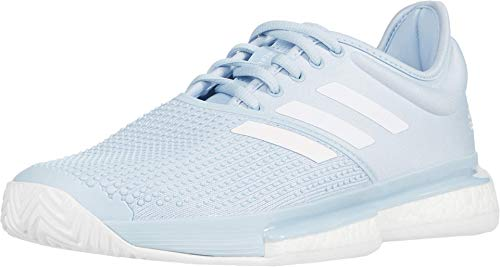 adidas Women's Solecourt Primeblue Tennis Shoe, Easy Blue/White/Easy Blue, 11 M US