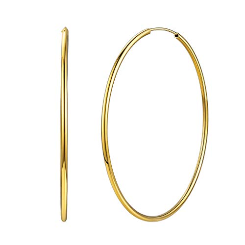Silvora 18K Gold Hoops Round Circle Lightweight Hoop Earrings Jewelry Birthday Gifts for Women Girls, 70 MM