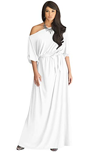 KOH KOH Plus Size Womens Long Sexy One Off Shoulder Flowy Casual 3/4 Short Sleeve Cocktail Wedding Party Guest Maternity Gown Gowns Maxi Dress Dresses, Ivory White 3XL 22-24