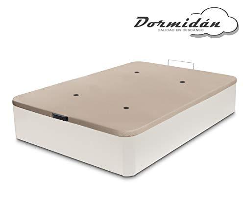 Dormidán - Canapé abatible de Gran Capacidad con Esquinas Redondeadas en Madera, Base tapizada 3D Transpirable + 4 válvulas aireación 150x190cm Color Blanco