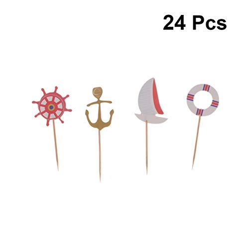 Amosfun 24pcs Seethema Cupcake Topper Segelboot Marine Cartoon Kuchen Dessert Obst Picks für Ozean Geburtstag Baby Duschen Ereignis Party Dekoration