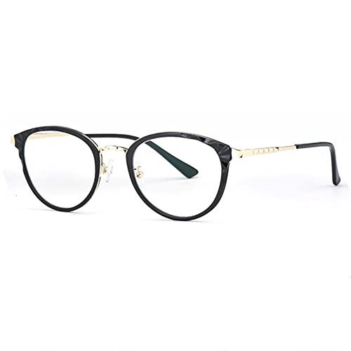 HQMGLASSES Gafas de Lectura Especiales para computadora con luz Anti-Azul para Damas,Lector de película de Resina HD de Marcos Redondos Retro dioptrías +1.0 a +3.0,Negro,+1.75
