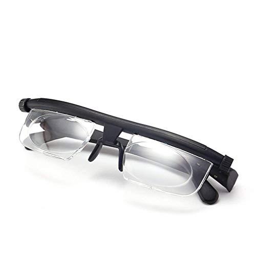 ZZSNT Einstellbare Fokus-Lesebrille -6D bis 3D, Dioptrien-Objektiv mit Lederbrillenetui, Korrekturbrille Unisex-Brille zum Distanzlesen