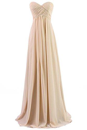 BetterGirl Chiffon Trägerlos Abendkleider Lang Elegant Hochzeit Brautjungfernkleider Ballkleider-Champagner-32