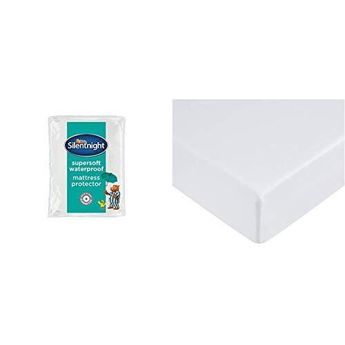 Silentnight Supersoft Quilted Waterproof Mattress Protector with Extra Deep Fitted Skirt, Microfibre, White, Double & AmazonBasics Microfibre Fitted Sheet, Double, Bright White