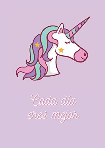 Cuaderno con frases motivadoras y bonitas de unicornio: