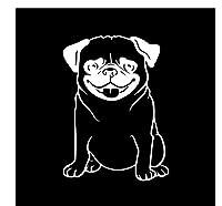車 ステッカー犬 11.5X15.8Cm興味深い動物ペットパグ子犬犬の車のステッカービニールデカールの装飾黒/銀
