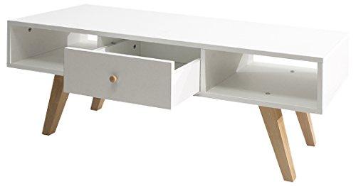 Symbiosis 3094A0421A30 TV-meubel, modern, kantelbare poten, beuken, 2 vakken, 1 lade, 117 x 40 x 42,4 cm, wit
