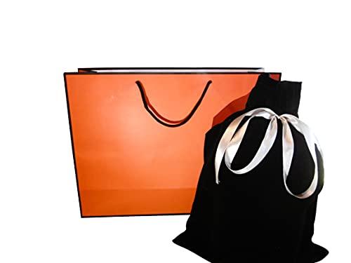 【世界一素敵なプレゼントを】 ラッピング 袋 プレゼント 巾着袋 ギフト 大きい 紙袋 手提げ袋 ギフトバッグ ベルベット Alpha Muse (Orange)