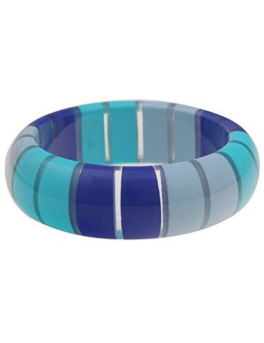 Leslii Damen-Armband XXL-Armreif Retro Statement-Armband breiter Armreif blaues Modeschmuck-Armband in Blau Türkis