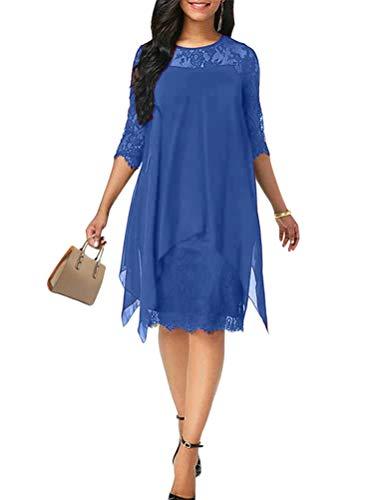 Minetom Damen Kleider Elegant Spitzenkleid 3/4 Ärmel Cocktailkleid Rundhals Knielang Rockabilly Kleid Blau 48