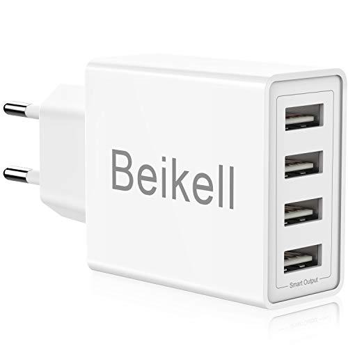 Beikell Cargador USB de Pared con 4 Puertos, 5A/25W Rápido Cargador Móvil, Cargador USB Multipuerto Enchufe Europeo para Phone X/XS/XS Max/XR, iPad Pro/ Air, Android y más
