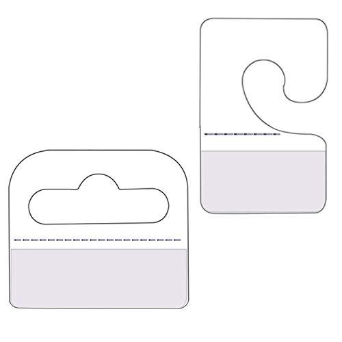 120Pcs Self Adhesive Hang Tabs Hooks Display Card for Store Retail Display Slat Wall Hook Hangers, J-Hook& Slot Hole Pegboard Hang Tabs Clear Plastic 2 Styles - Multiple Pack Foldable