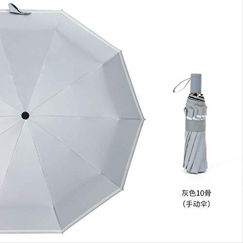 Vollautomatisch 10 Knochenschirm, Weiblicher Sonnenschutz Gestreifter Regenschirm, Klappbarer Uv-Regenschirm 10 Knochen Doppel horizontale Handbuch