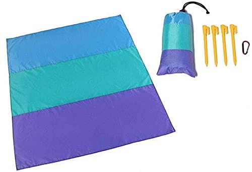 Picnic Beach Manta Impermeable Multifunción Plegable Picnic Picnic Mat Sombrilla Tabla con uñas de tierra Mosquetón Camping TravelCamping Equipamiento para dormir (Color: Púrpura, Tamaño: 200x 210cm)