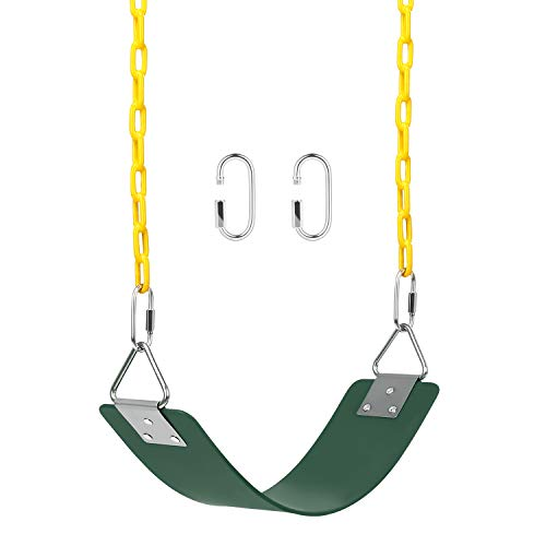 AGPTEK Swing Set, Swing Seat with 66 Inch Anti-Rust Chains Thermoplastic Coated, Support 660lb, Swing Seat Cushion Accessories Replacement with Snap Hooks for Outdoors, Playground, Jungle & Gym,Green
