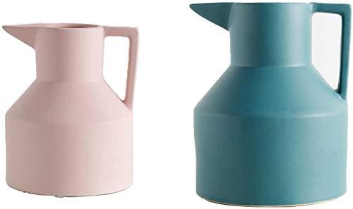 HZYDD Jarrones Barro jarron florero de ceramica Arte Hecho a Mano en Color se Pueden Colocar en la Oficina, gabinete de la TV, Mesa de Comedor, Decoracion (Pack de 2)