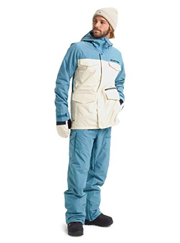 Burton Mens Covert Jacket Slim, Almond Milk/Storm Blue Ripstop, X-Large