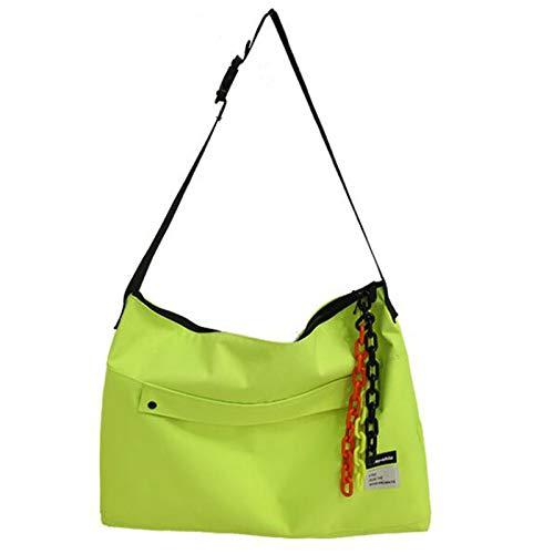 ZHANJIN Female Bag with Pendant Messenger Bag Ins Port Style Street Shooting Student Shoulder School Bag Large Capacity Messenger Bag Simple Tote Bag,Green