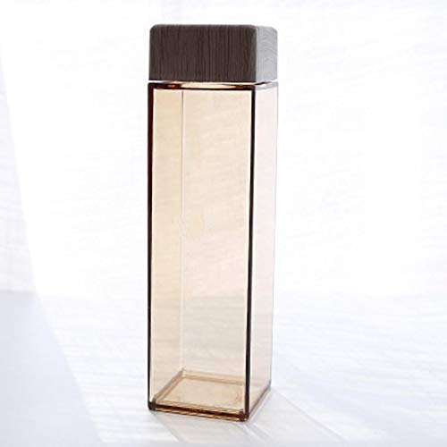 dingtian Botella de Agua Moda Water Square Forma con Tapa de Grano de Madera plástico Sport Kettle Coffee