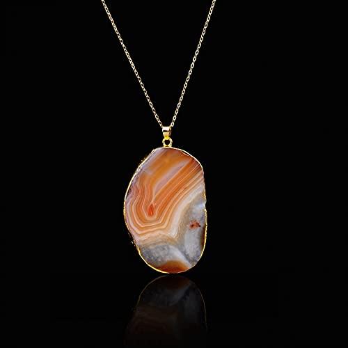 QiuYueShangMao Collar Colgante Colores Mezclados Irregular Piedra Natural Cristal Colgante Collar Mujer Joyería Novia, Esposa, Hija, Madre