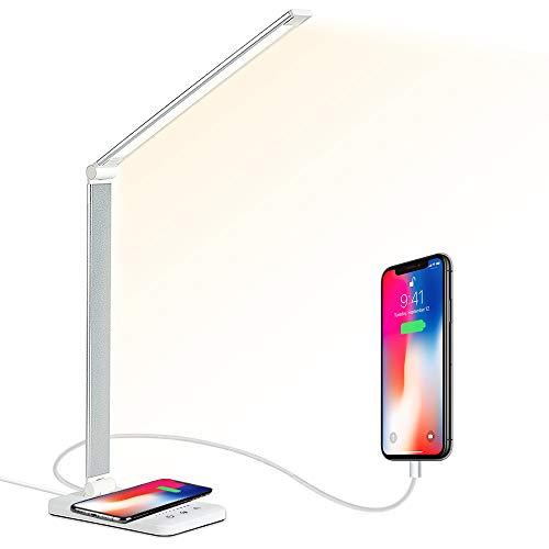 Plartree Lámpara Escritorio LED con Cargador Inalámbrico, Lámpara de Mesa Plegable Lámpara de Cabecera Control Táctil 5 Modos,5 Niveles de Brillo,Protege a Ojos lámpara de mesa Con USB