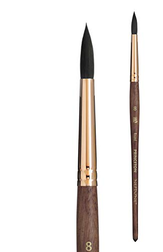 Princeton Artist Brush, Neptune Series 4750, Synthetic Squirrel Watercolor Paint Brush, Round, Size 8
