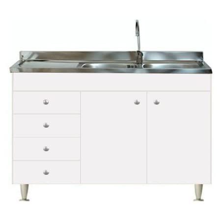 Arredobagnoecucine - Mueble de cocina con 2 puertas y fregadero inoxidable 120 - Bajo mesada modular