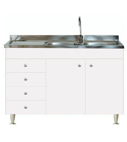 Arredobagnoecucine - Mueble de cocina con 2puertas y fregadero inoxidable 120 - Bajo mesada modular