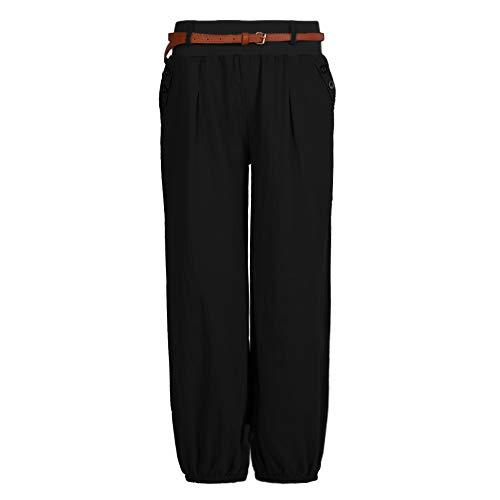 Shujin Damen Sommer Elegant Leinen Leicht Pumphose Baggy Harem Stil Lange Hose Aladinhose Pluderhose mit Gürtel oder ohne Gürtel
