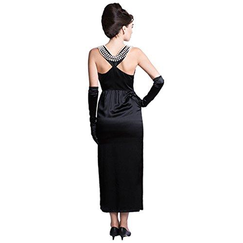 Utopiat Vestido de Traje Negro Satinado Premium Mujer Inspirado en el Estilo Audrey Hepburn (S)