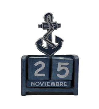 SusggO Calendario Perpetuo de Madera Marinero Ancla Artesania Decoracion para la Mesa, estantería, Escritorio, sobremesa (Azul Ancla)