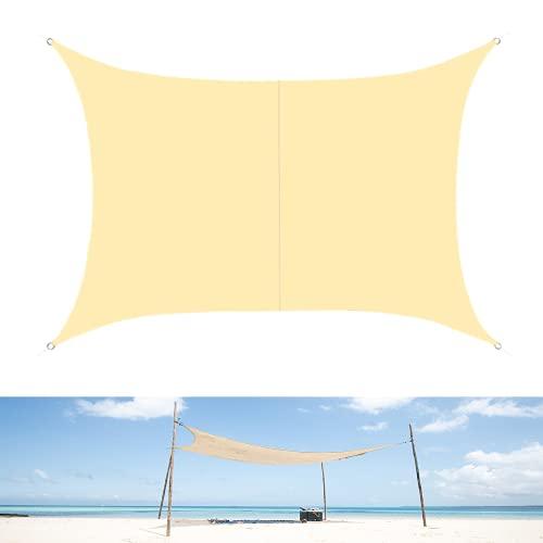 LUINNO Sonnensegel inkl. Befestigungsseile Sonnenschutz mit 95% UV-Schutz für Draußen Garten Terrasse Innenhof Camping, Polyester 2m x 3m Rechtwinklig Beige Wasserabweisend