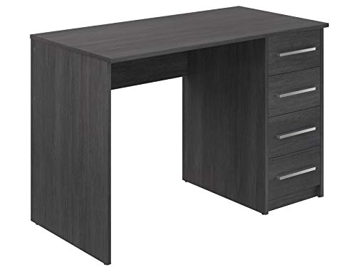 Movian, scrivania con 4 cassetti in stile moderno, modello Idro, 56 x 110 x 73 cm, colore grigio