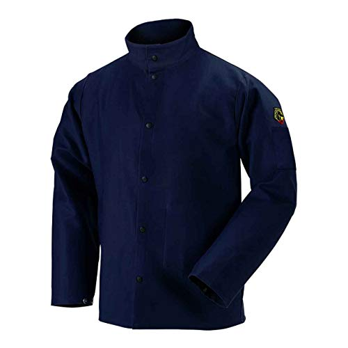 "Black Stallion REVCO - FN9-30C-M FN9-30C 30"" 9oz. Navy FR Cotton Welding Jacket, Large (Medium)"