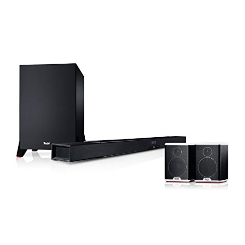 Teufel Cinebar Lux Surround Ambition 5.1-Set Schwarz / Schwarz-Weiß Surround Soundbar Bluetooth Subwoofer Dynamore 3D Heimkino Musik