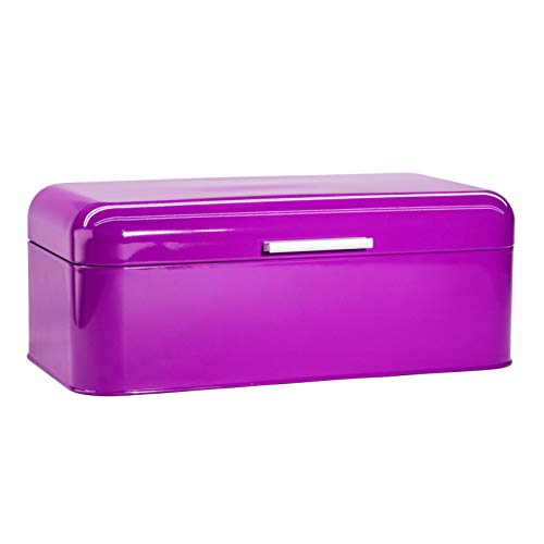 Large Purple Bread Box - Extra Large Storage Container for Loaves, Bagels, Chips & More: 16.5' x 8.9' x 6.5' | Bonus Recipe EBook