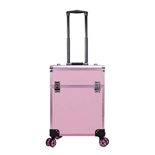DPPAN Professionnel Valise de Maquillage, Aluminium Valise à Cosmétiques Coiffure Mallette à Maquillage avec 360° Roulettes pour Esthéticiens Voyage,Pink