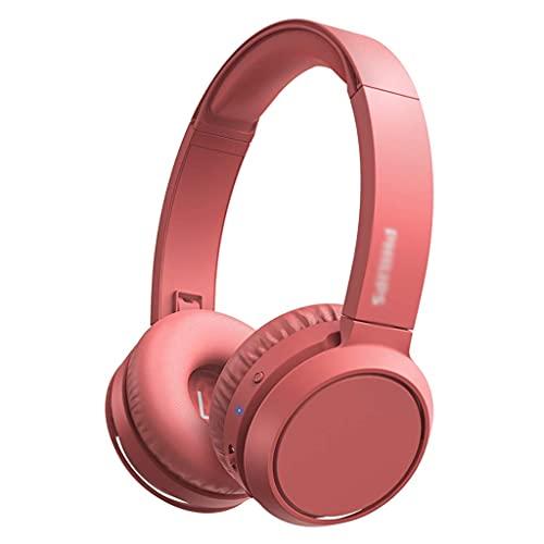Auriculares de Juego Bluetooth sobre Auriculares para el oído Auriculares de Profundidad Bajo Plegable 29H Tiempo de Juego Earpads de proteína cómoda Earpads Auriculares (Color : Pink)