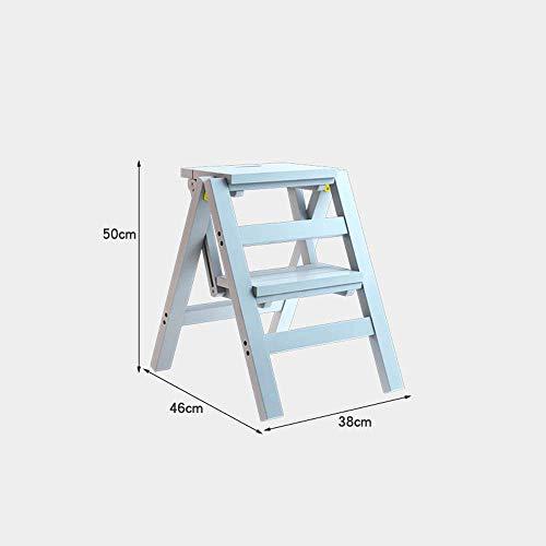 Nest of Tables Mesa de Centro Blanca Mesas auxiliares Mesa para portátil Escalera de Madera de 2 Niveles Taburete de bambú para Cocina Dormitorio Baño o guardería 4 Colores (Color, Blanco),