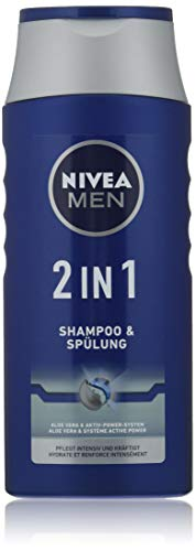 NIVEA MEN 2in1 Shampoo & Spülung (250 ml), effektives Haarshampoo mit Aloe Vera, feuchtigkeitsspendendes Pflegeshampoo mit Aktiv-Power-System