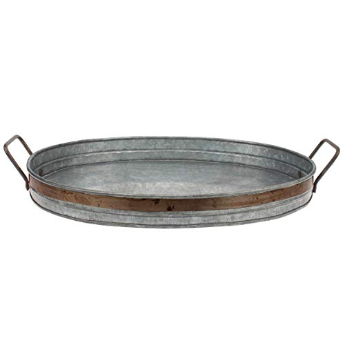 Stonebriar Galvanized Metal Serving Tray with Rust Trim and Metal Handles, Unique Butler Tray, Decorative Centerpiece for Coffee Table or Dining Table, Rustic Accessories for Weddings and Parties