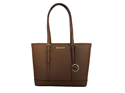 """Saffiano leather with gold-tone hardware. Zip-top closure. Polished logo lettering hardware at front and logo medallion hangtag. Adjustable shoulder straps with 9.5"""" drop. Interior: Logo lining; one zip pocket and two multifunction slip pockets. Appr..."""