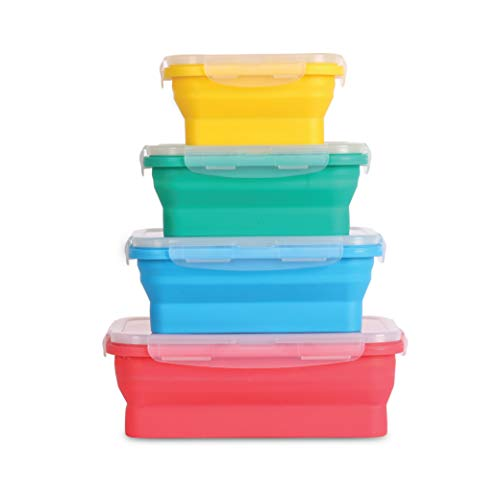 Collapsible silicone food storage containers